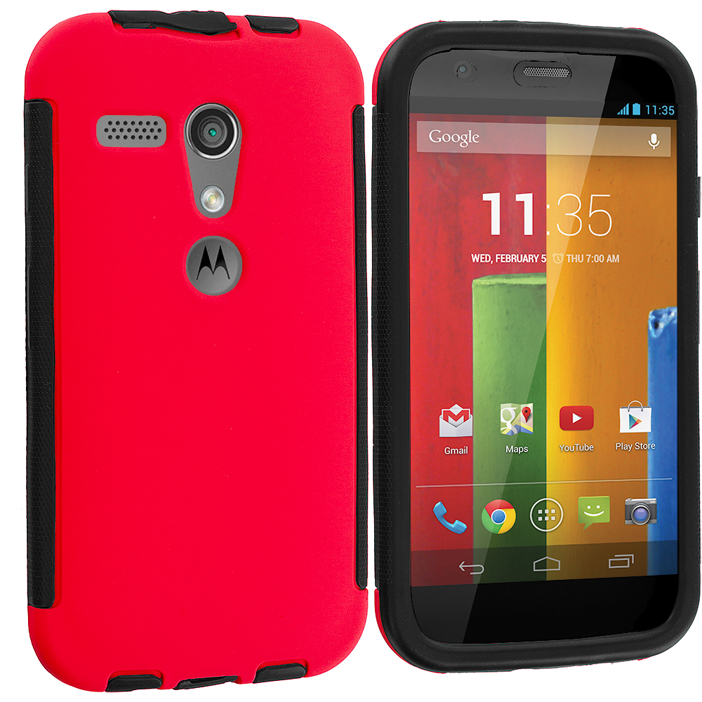Motorola Moto G 2 in 1 Combo Bundle Pack - Orange / Red Hybrid Hard TPU Shockproof Case Cover With Built in Screen Protector : Color Black / Red