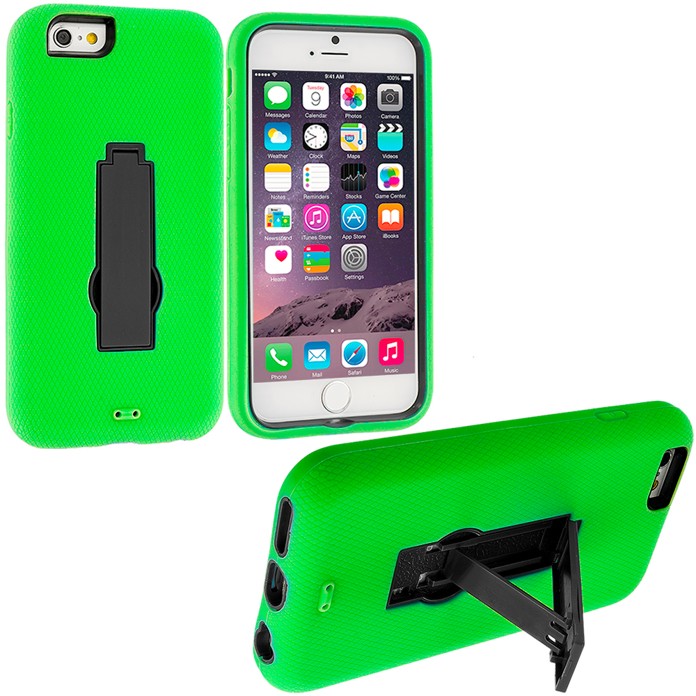Apple iPhone 6 Plus 6S Plus (5.5) Neon Green / Black Hybrid Heavy Duty Hard Soft Case Cover with Kickstand