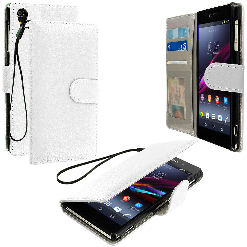Sony Xperia Z1 White Leather Wallet Pouch Case Cover with Slots