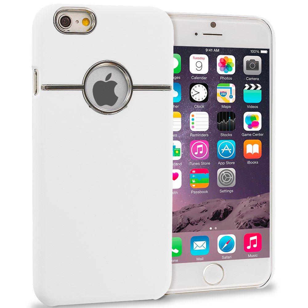 Apple iPhone 6 Plus White Deluxe Chrome Hard Rubberized Back Cover Case