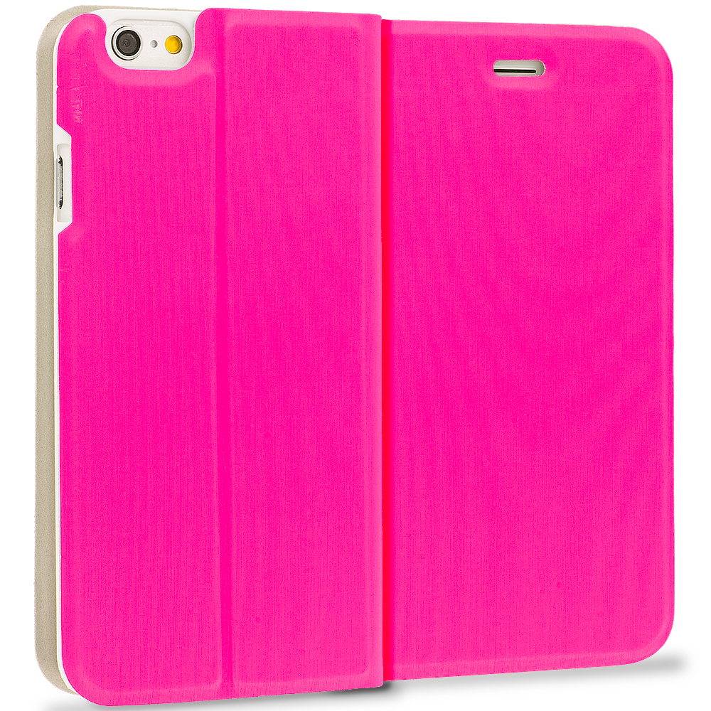 Apple iPhone 6 Plus 6S Plus (5.5) 4 in 1 Combo Bundle Pack - Slim Flip Wallet Case Cover : Color Hot Pink
