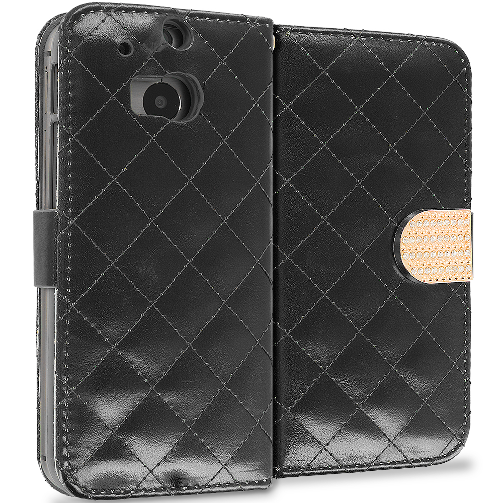 HTC One M8 Black Luxury Wallet Diamond Design Case Cover With Slots