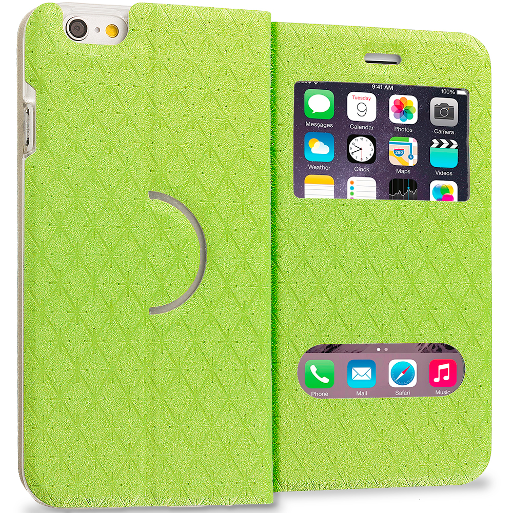 Apple iPhone 6 6S (4.7) Neon Green Slim Hard Wallet Flip Case Cover With Double Window
