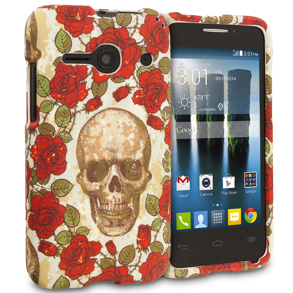 Alcatel One Touch Evolve 2 Gorgeous Skull Hard Rubberized Design Case Cover