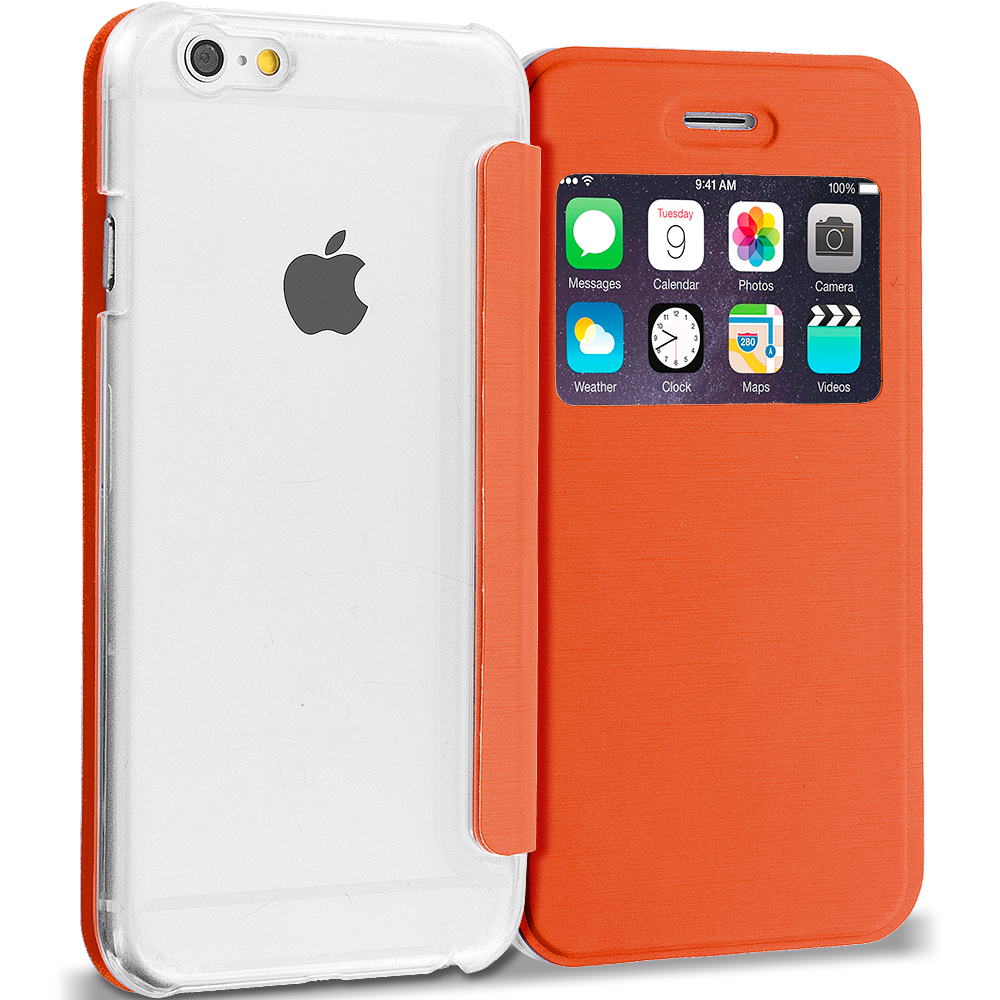 Apple iPhone 6 6S (4.7) Orange Slim Hard Wallet Flip Case Cover Clear Back With Window