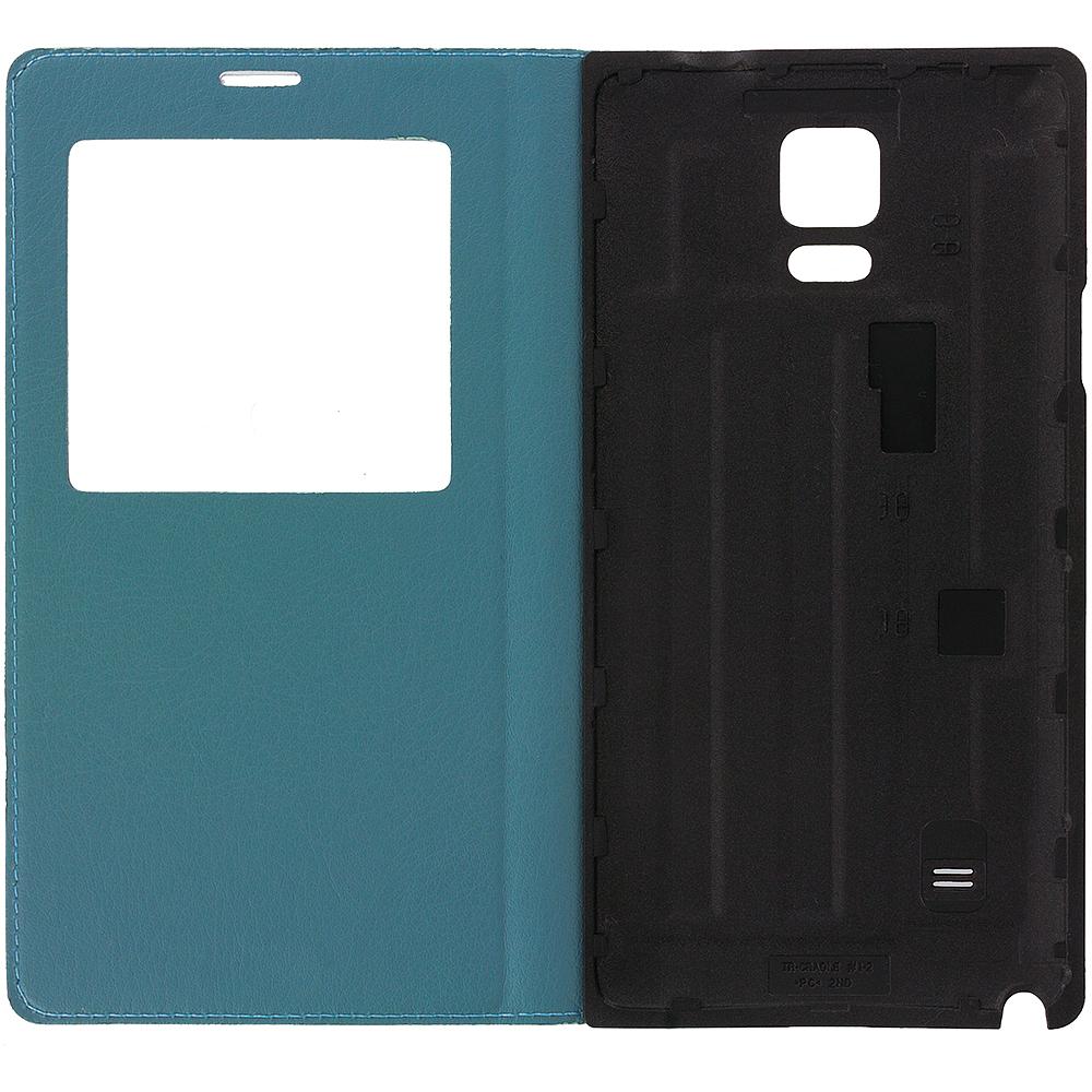Samsung Galaxy Note 4 Navy Blue Battery Door Rear Replacement Ultra Slim Wallet Flip Case Cover