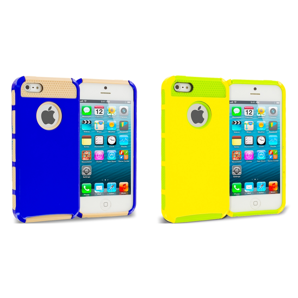Apple iPhone 5 / 5S Combo Pack : Brown / Baby Blue Hybrid Hard TPU Honeycomb Rugged Case Cover