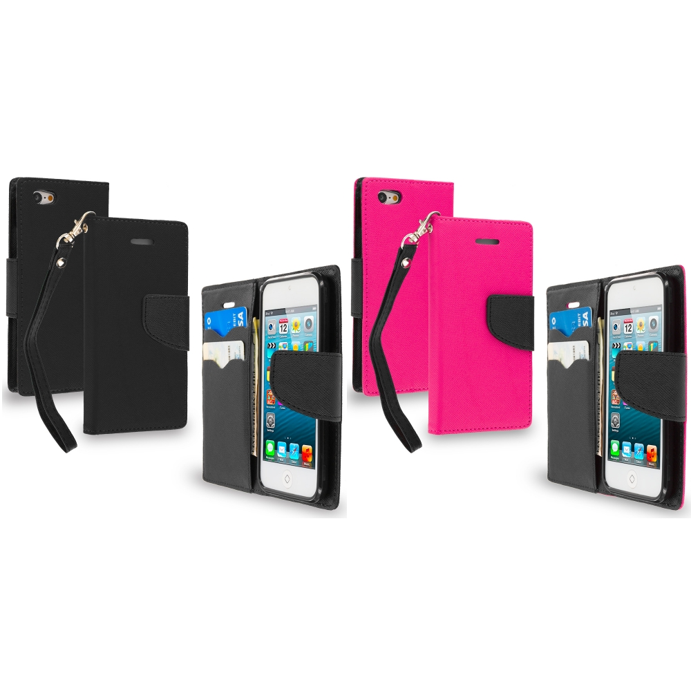 Apple iPod Touch 5th 6th Generation 2 in 1 Combo Bundle Pack - Black / Pink Leather Flip Wallet Pouch TPU Case Cover with ID Card Slots