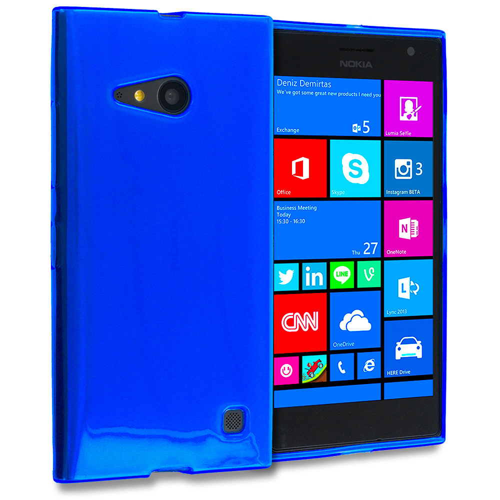 Nokia Lumia 730 735 Blue TPU Rubber Skin Case Cover
