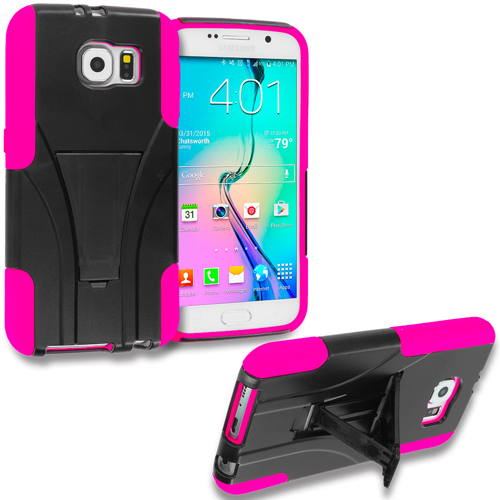 Samsung Galaxy S6 3 in 1 Combo Bundle Pack - Hybrid Hard Soft Shockproof Case Cover with Kickstand : Color Black / Hot Pink