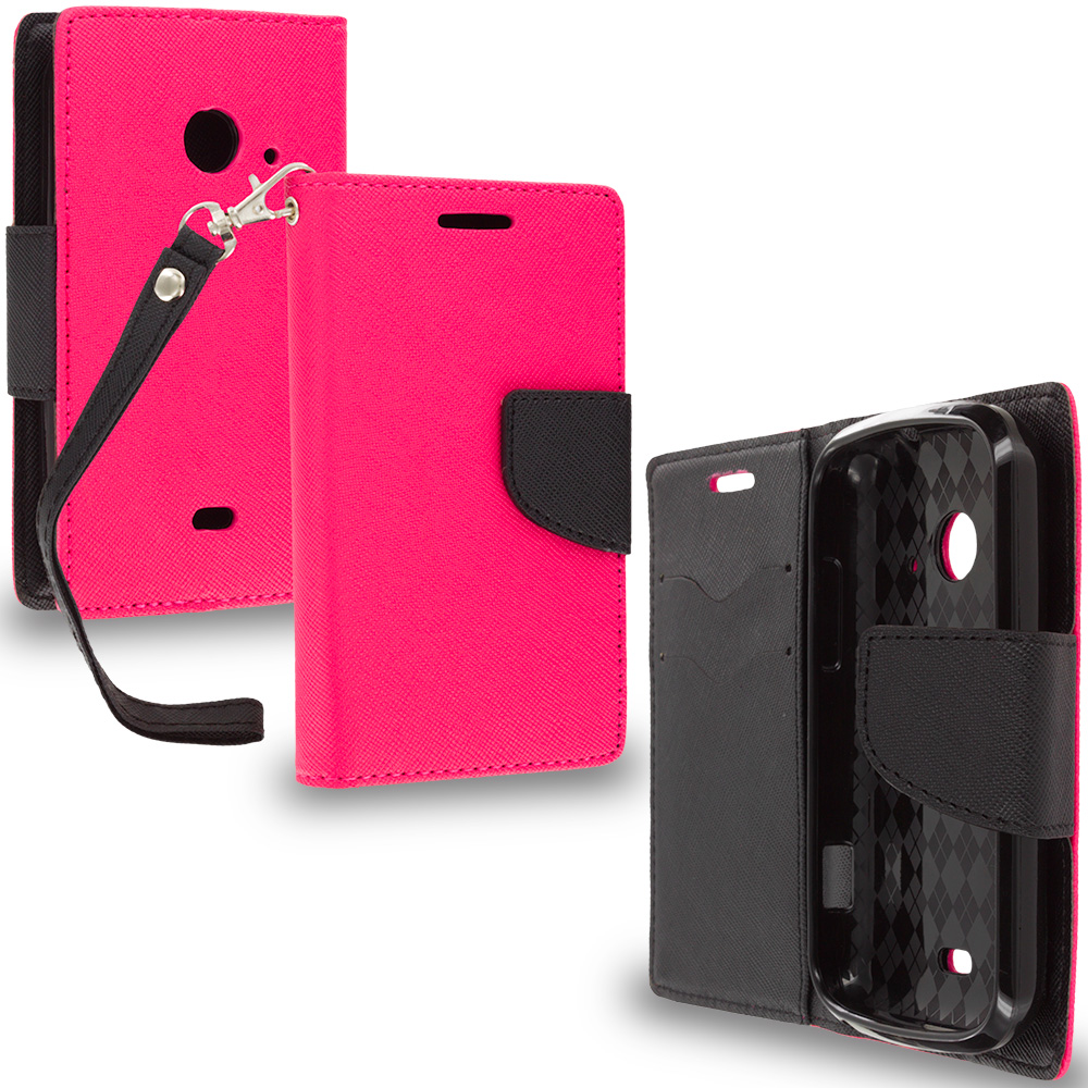ZTE Zinger Prelude 2 Z667 Hot Pink / Black Leather Flip Wallet Pouch TPU Case Cover with ID Card Slots