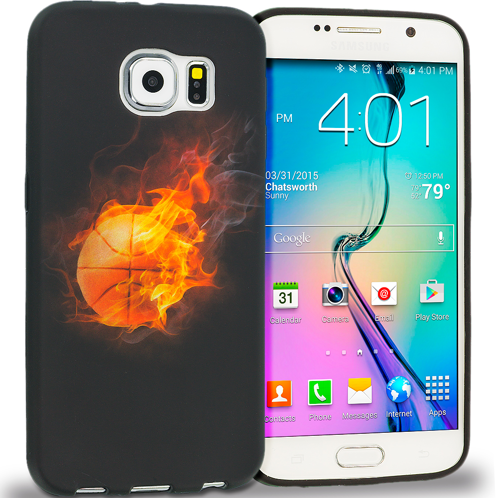 Samsung Galaxy S6 Combo Pack : Red Flame TPU Design Soft Rubber Case Cover : Color Flaming Basketball