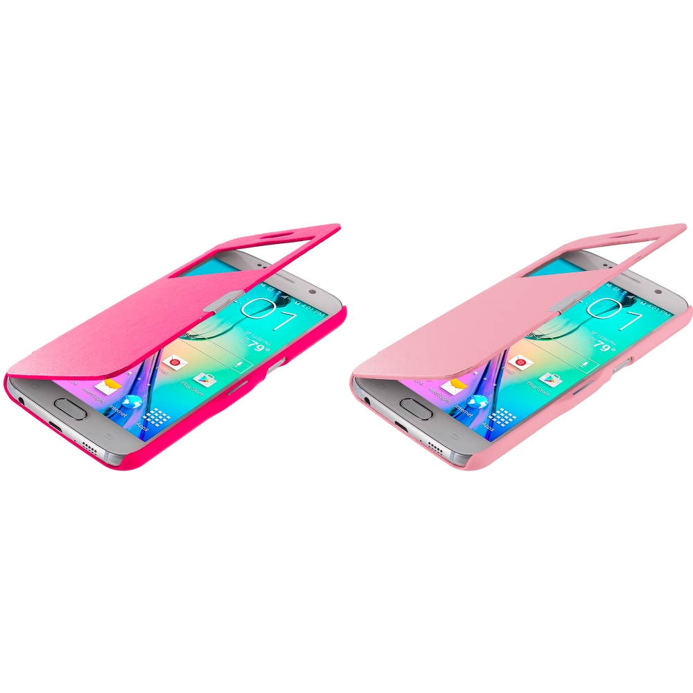 Samsung Galaxy S6 Combo Pack : Hot Pink Window Magnetic Flip Wallet Case Cover Pouch