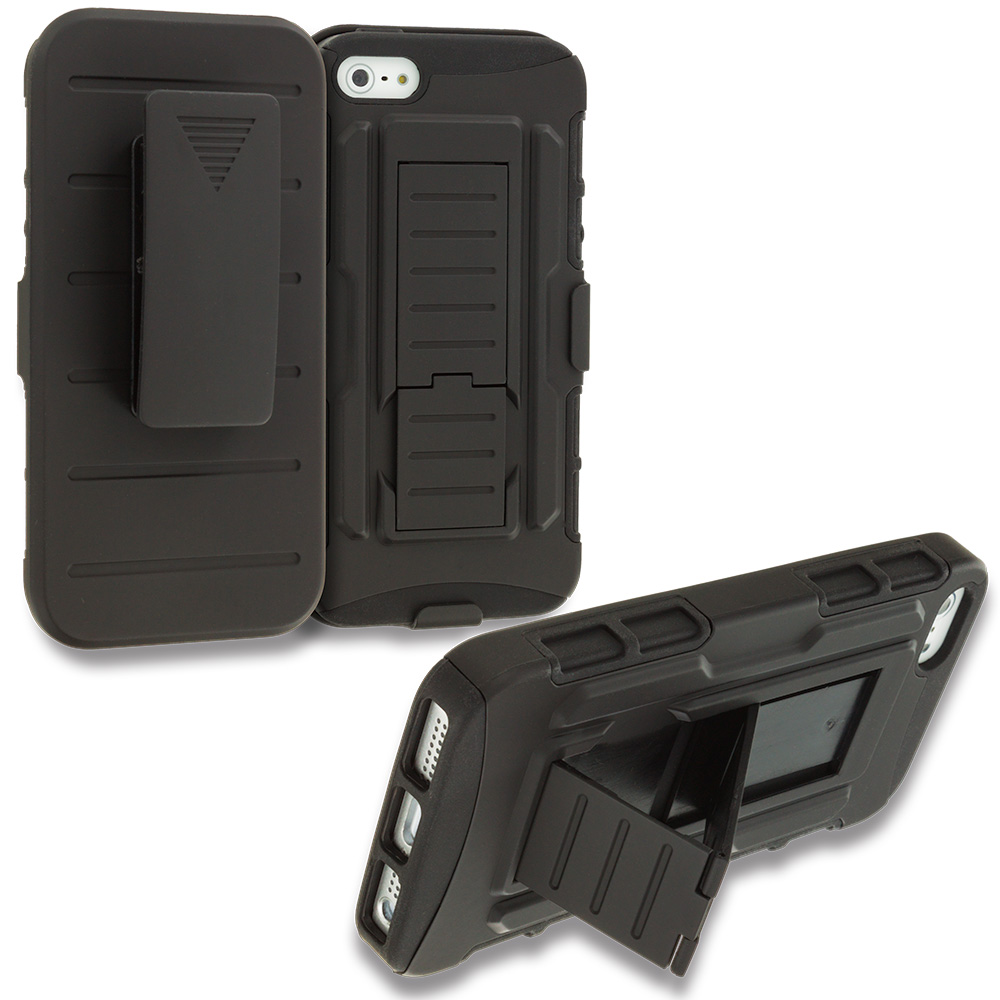 Apple iPhone 5/5S/SE Black Hybrid Rugged Robot Armor Heavy Duty Case Cover with Belt Clip Holster
