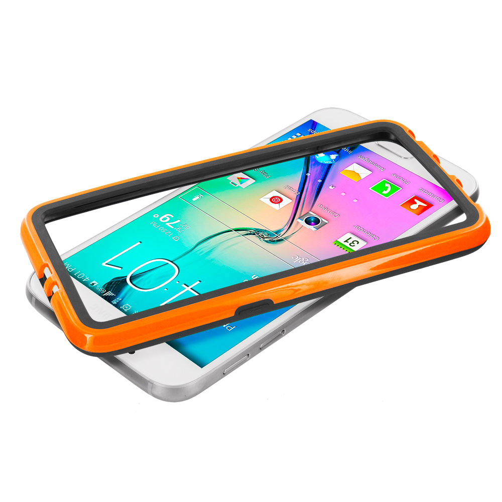 Samsung Galaxy S6 Combo Pack : Black / Yellow TPU Bumper Frame with Metal Buttons : Color Black / Orange