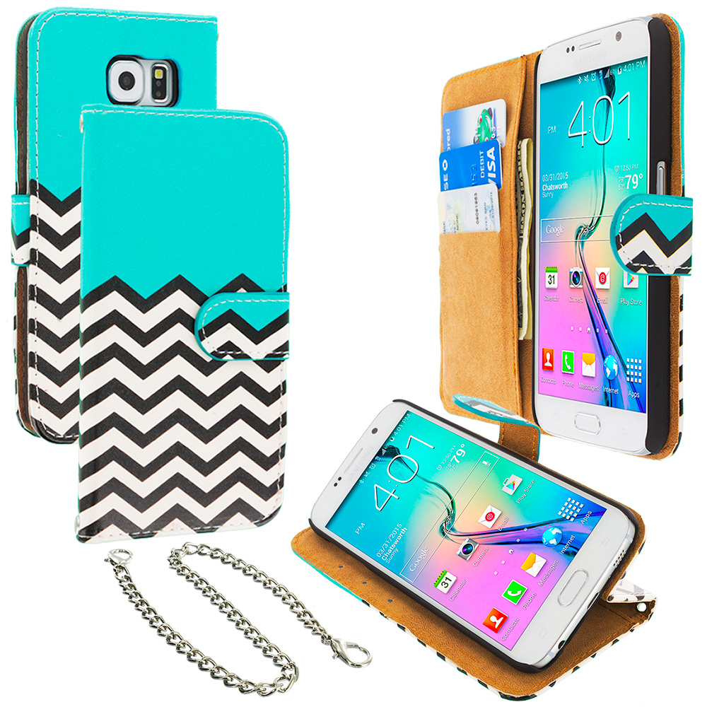 Samsung Galaxy S6 Edge Mint Green Zebra Leather Wallet Pouch Case Cover with Slots