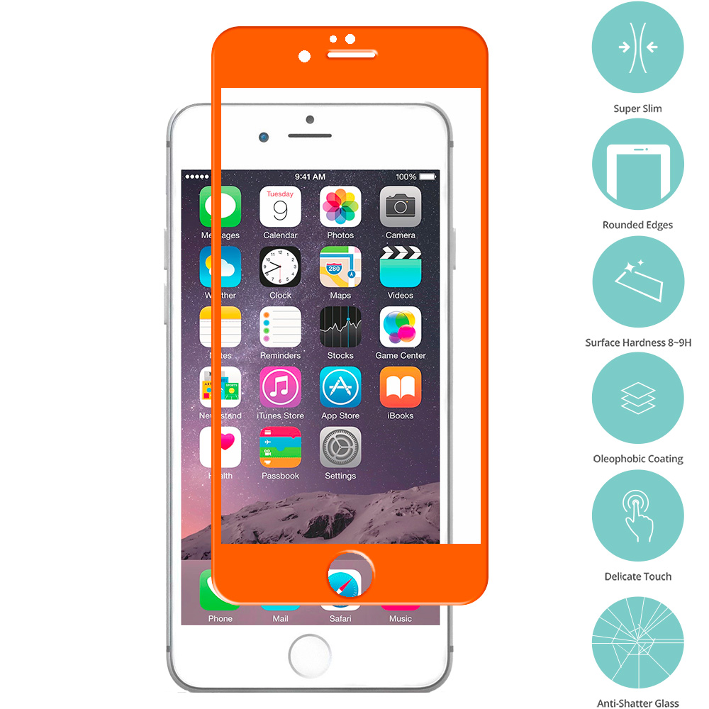 Apple iPhone 6 6S (4.7) Orange Tempered Glass Film Screen Protector Colored