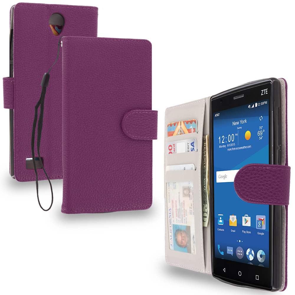 ZTE Zmax 2 Purple Leather Wallet Pouch Case Cover with Slots
