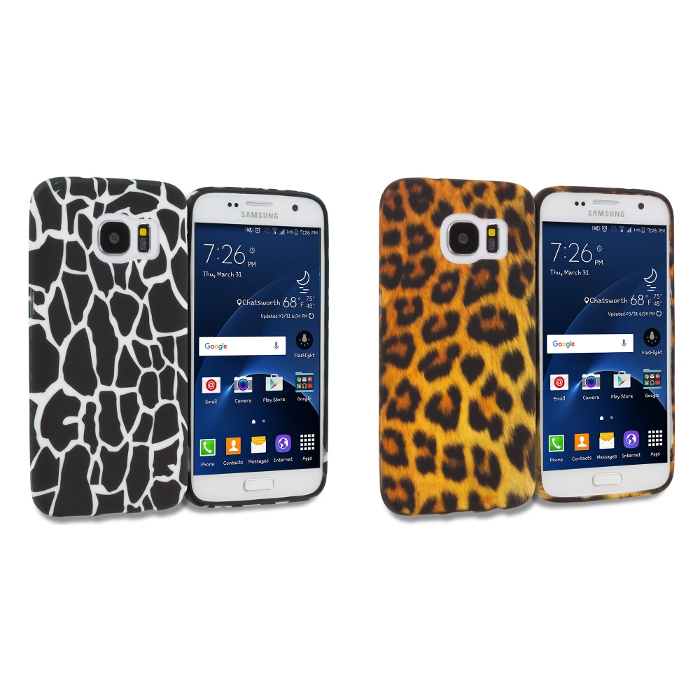 Samsung Galaxy S7 Combo Pack : Black Giraffe TPU Design Soft Rubber Case Cover