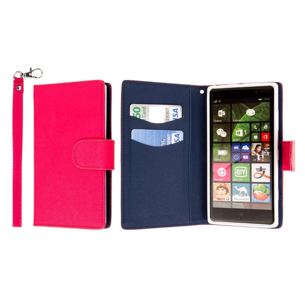 Nokia Lumia 830 - Hot Pink MPERO FLEX FLIP Wallet Case Cover
