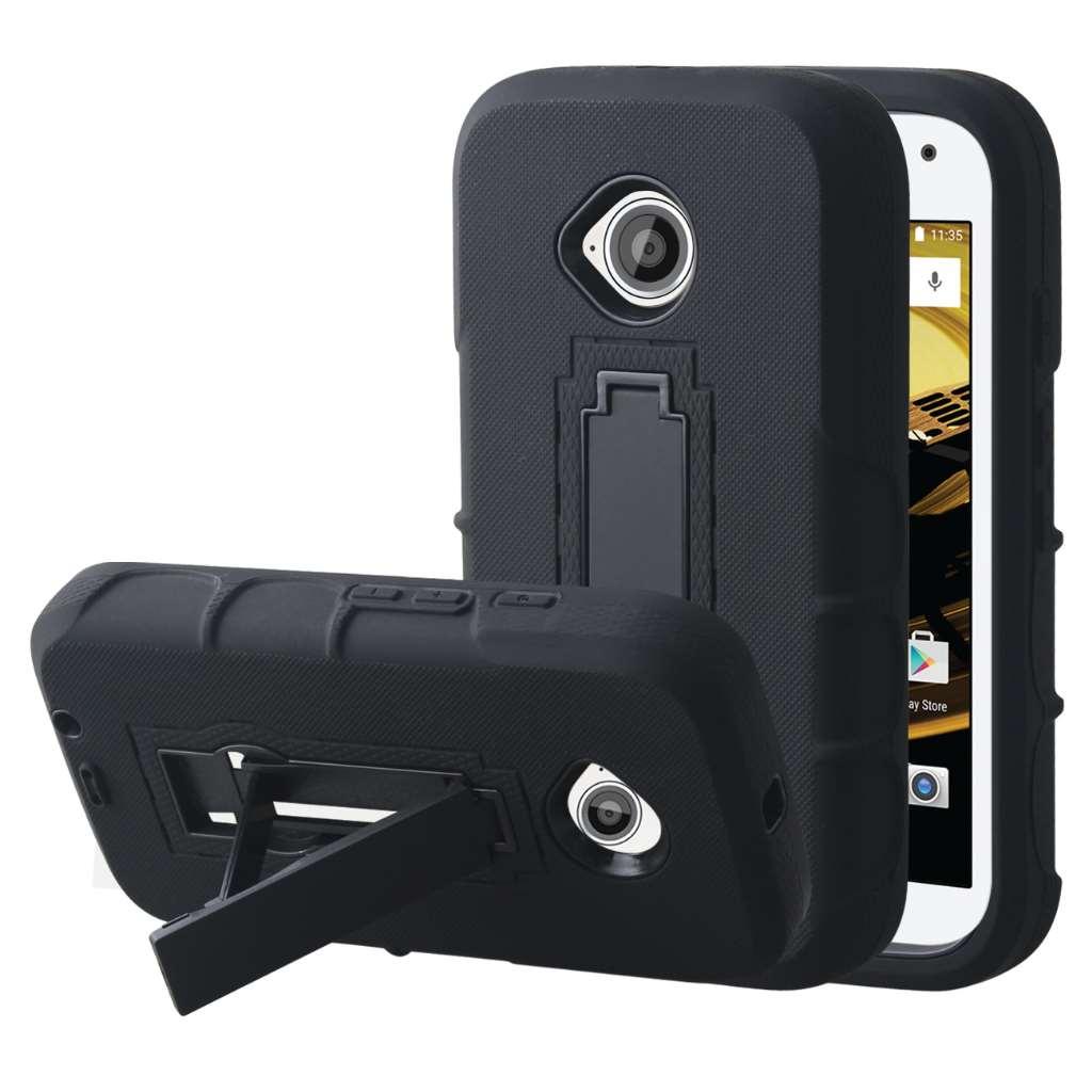 Motorola Moto E 2nd Generation - Black MPERO IMPACT XS - Kickstand Case