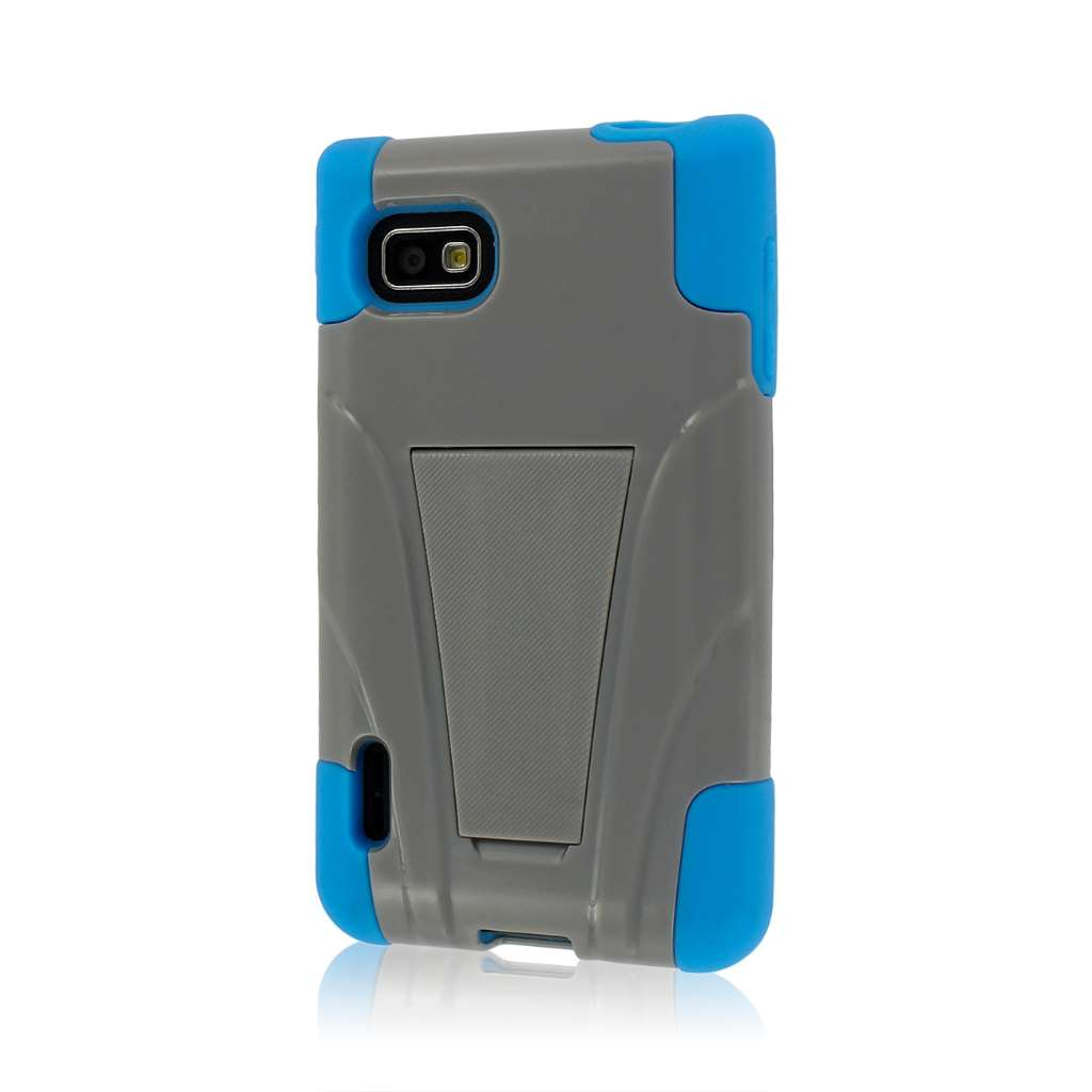 T-Mobile LG Optimus F3- BLUE/GRAY MPERO IMPACT X - Kickstand Case Cover