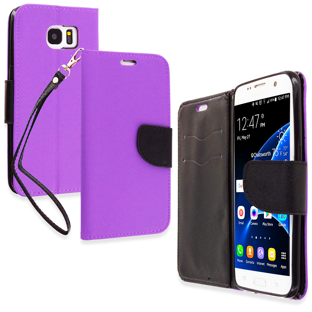 Samsung Galaxy S7 Edge Purple / Black Leather Flip Wallet Pouch TPU Case Cover with ID Card Slots