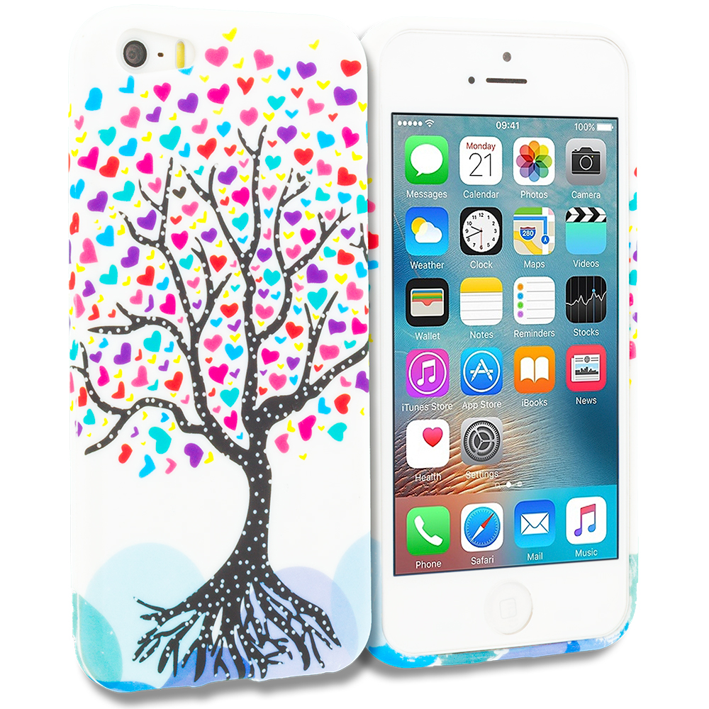 Apple iPhone 5 Combo Pack : Hearts Full of Flowers on White TPU Design Soft Rubber Case Cover : Color Love Tree on White