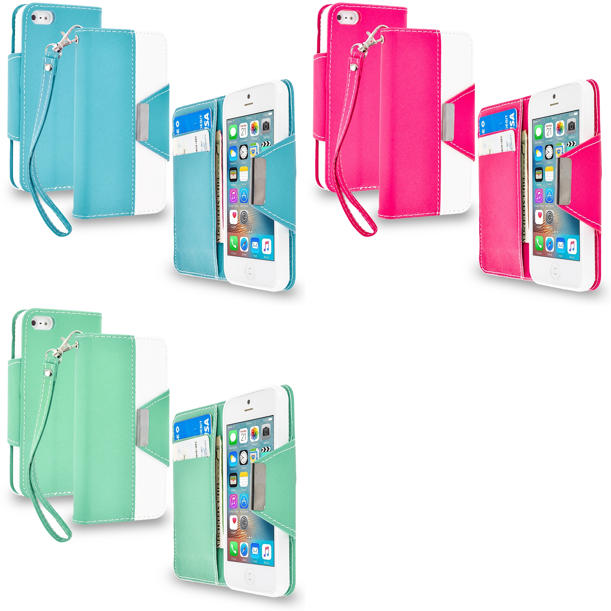 Apple iPhone 5/5S/SE Combo Pack : Baby Blue Wallet Magnetic Metal Flap Case Cover With Card Slots