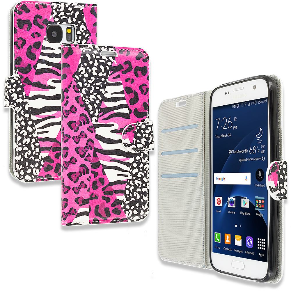 Samsung Galaxy S7 Combo Pack : Bowknot Zebra Design Wallet Flip Pouch Case Cover with Credit Card ID Slots : Color Bowknot Zebra