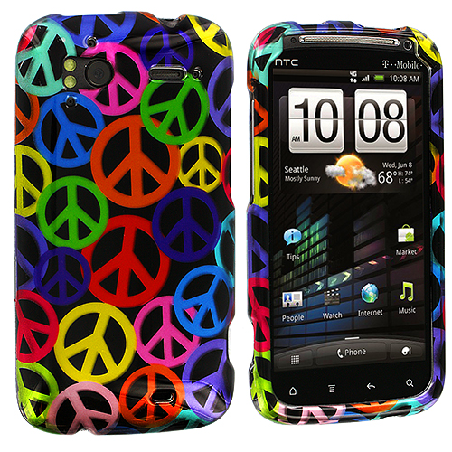 HTC Sensation 4G Peace Sign Design Crystal Hard Case Cover