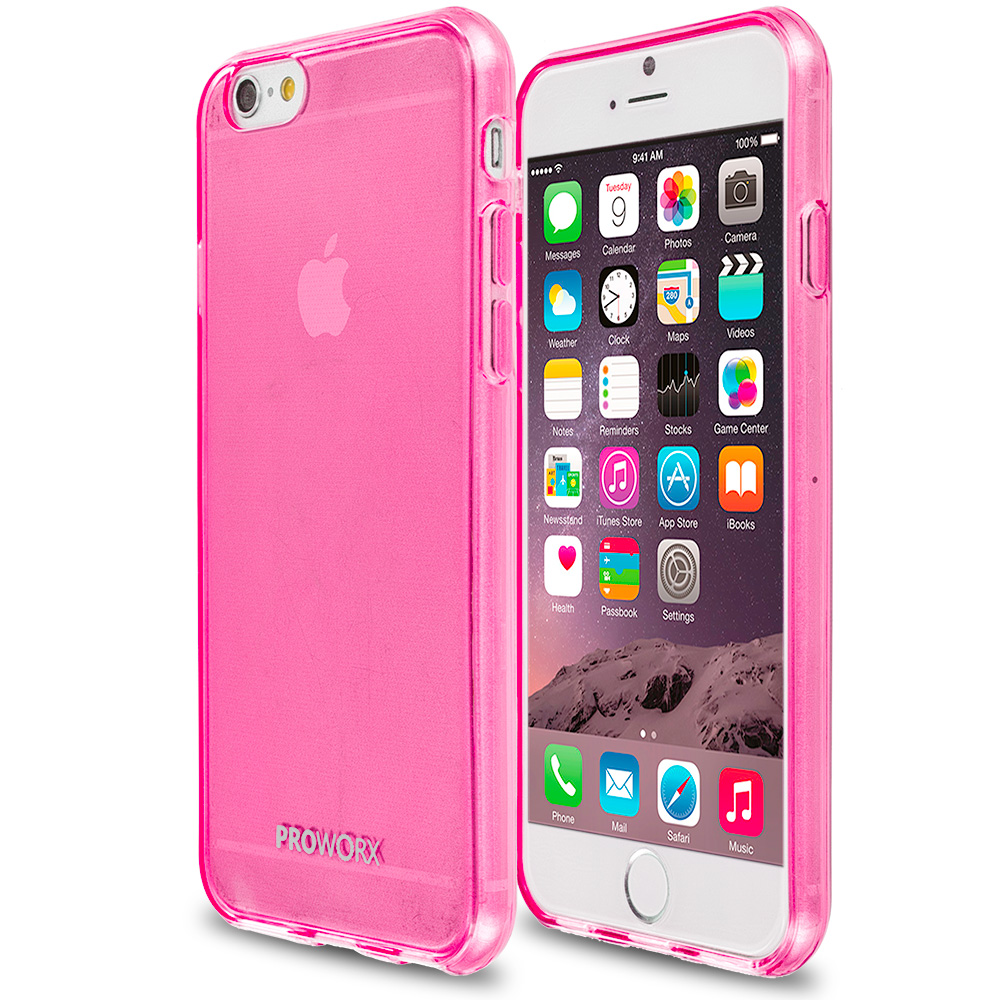 Apple iPhone 6 Plus 6S Plus (5.5) Hot Pink ProWorx Ultra Slim Thin Scratch Resistant TPU Silicone Case Cover