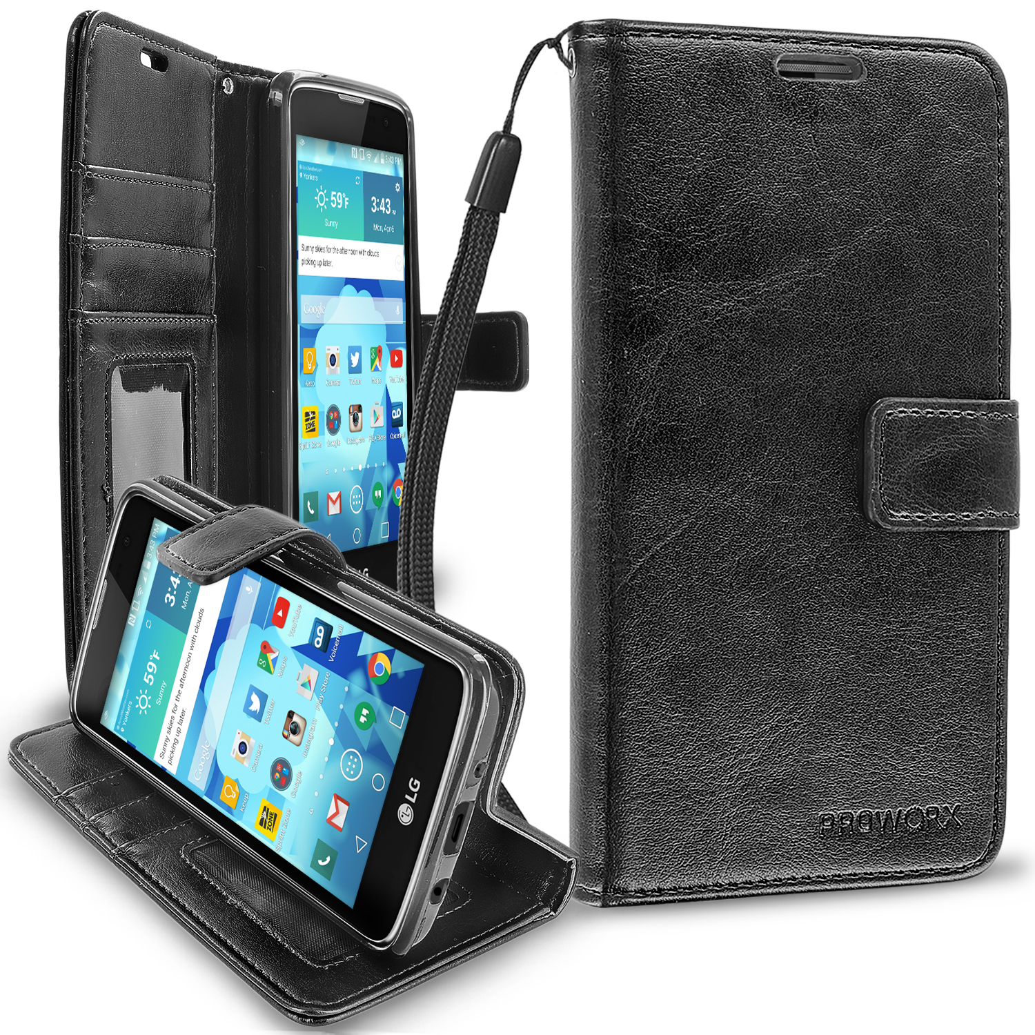 LG Tribute 5 K7 Phoenix 2 Escape 3 Treasure Black ProWorx Wallet Case Luxury PU Leather Case Cover With Card Slots & Stand