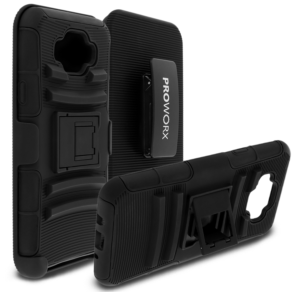 Samsung Galaxy J7 Black ProWorx Heavy Duty Shock Absorption Armor Defender Case Cover With Belt Clip Holster