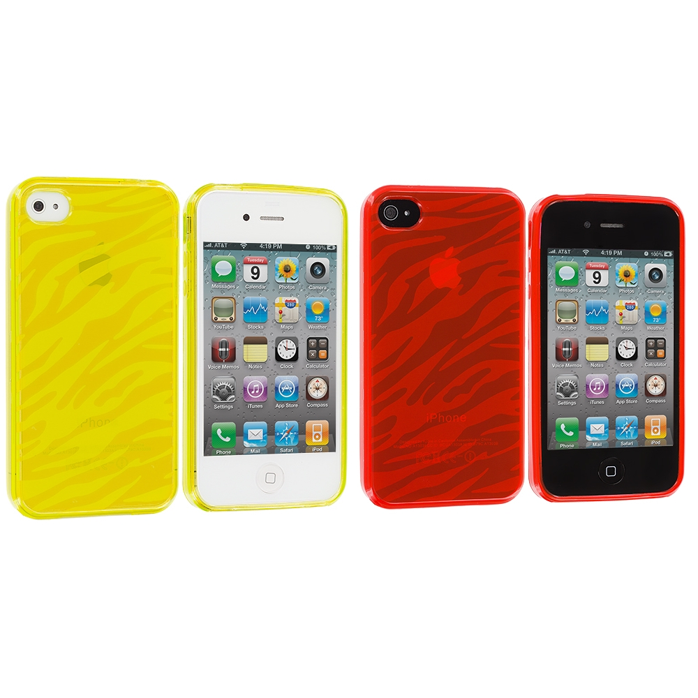 Apple iPhone 4 / 4S 2 in 1 Combo Bundle Pack - Yellow Orange Zebra TPU Rubber Skin Case Cover