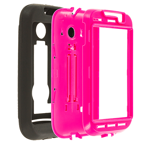 Huawei Ascend 2 M865 Black / Hot Pink Hybrid Heavy Duty Hard/Soft Case Cover with Stand