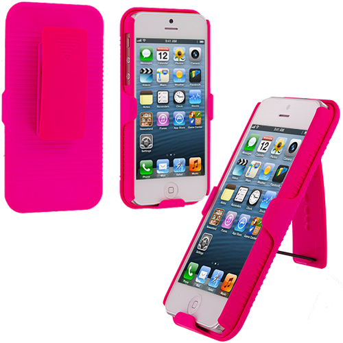 Apple iPhone 5/5S/SE Combo Pack : Baby Blue Hard Rubberized Belt Clip Holster Case Cover : Color Hot Pink