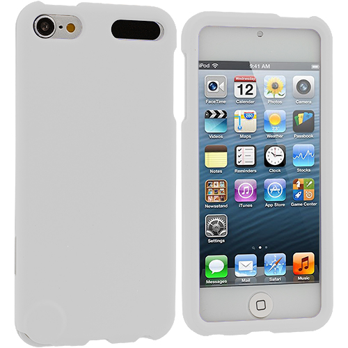 Apple iPod Touch 5th 6th Generation White Hard Rubberized Case Cover