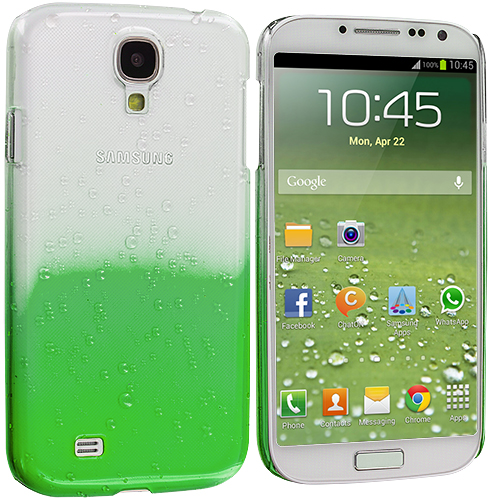 Samsung Galaxy S4 Neon Green Crystal Raindrop Hard Case Cover
