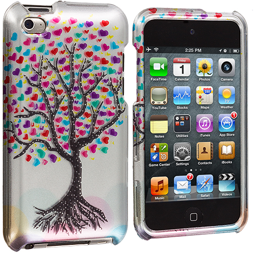 Apple iPod Touch 4th Generation Love Tree on Silver Design Crystal Hard Case Cover