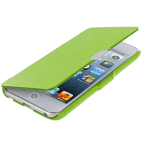 Apple iPod Touch 5th 6th Generation Neon Green Texture Magnetic Wallet Case Cover Pouch