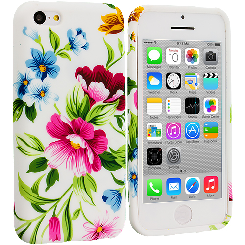 Apple iPhone 5C 3 in 1 Combo Bundle Pack - Flower TPU Design Soft Case Cover : Color Flower Painting