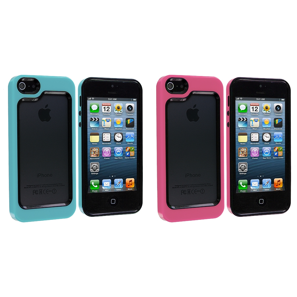 Apple iPhone 5/5S/SE Combo Pack : Black / Baby Blue Hybrid TPU Bumper Case Cover
