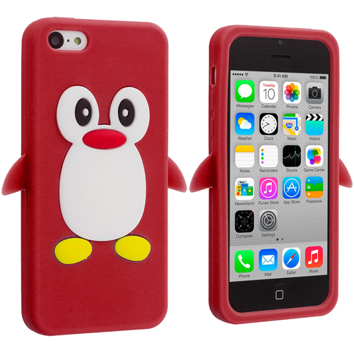 Apple iPhone 5C Red Penguin Silicone Design Soft Skin Case Cover