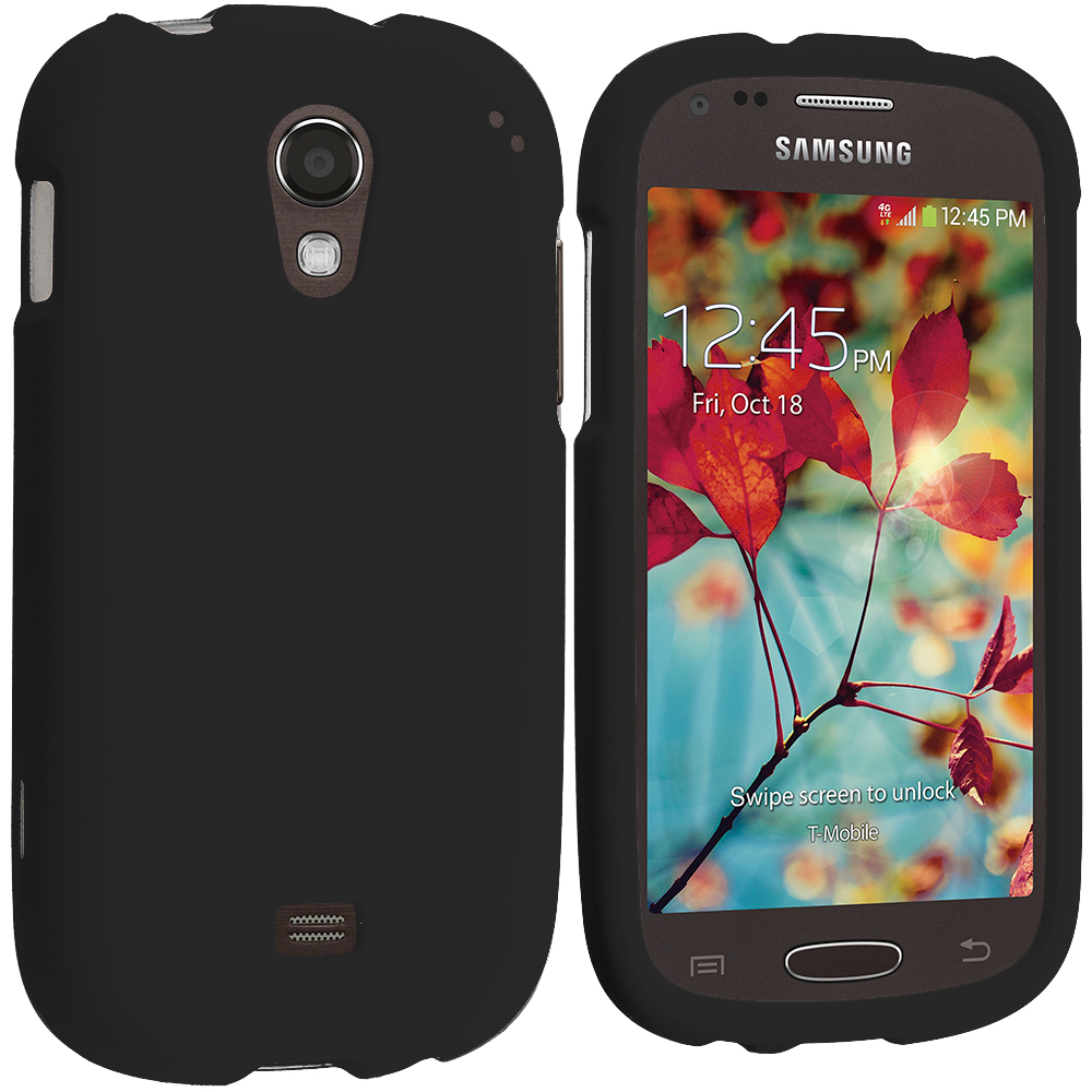 Samsung Galaxy Light T399 Black Hard Rubberized Case Cover