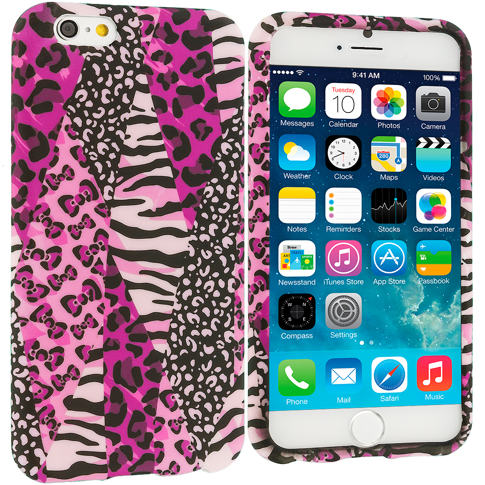 Apple iPhone 6 6S (4.7) 8 in 1 Combo Bundle Pack - TPU Design Soft Case Cover : Color Bowknot Zebra