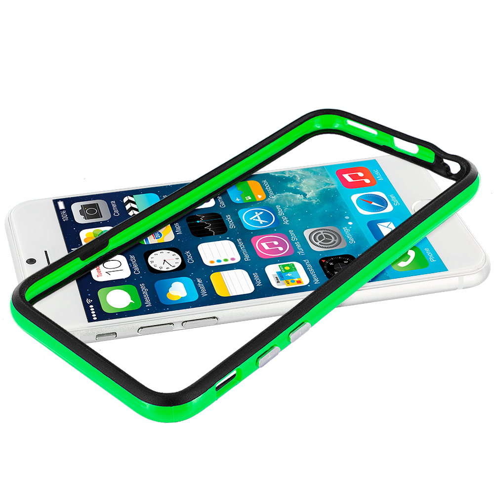Apple iPhone 6 6S (4.7) Black / Neon Green TPU Bumper with Metal Buttons