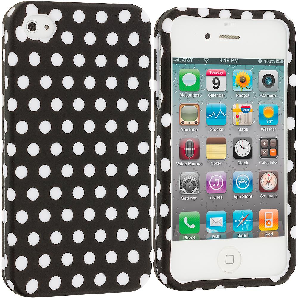 Apple iPhone 4 / 4S Black / White Polka Dot Hard Rubberized Design Case Cover