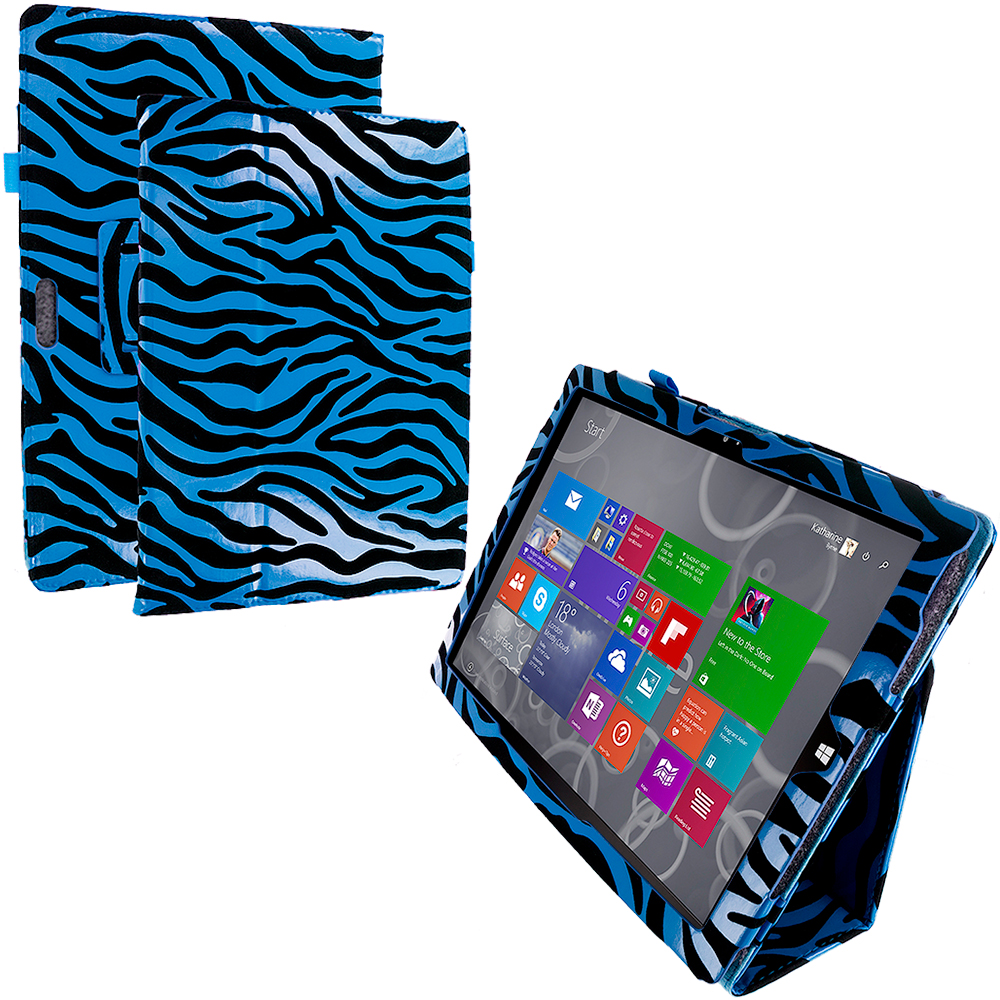 Microsoft Surface Pro 3 Blue Zebra Folio Pouch Flip Case Cover Stand