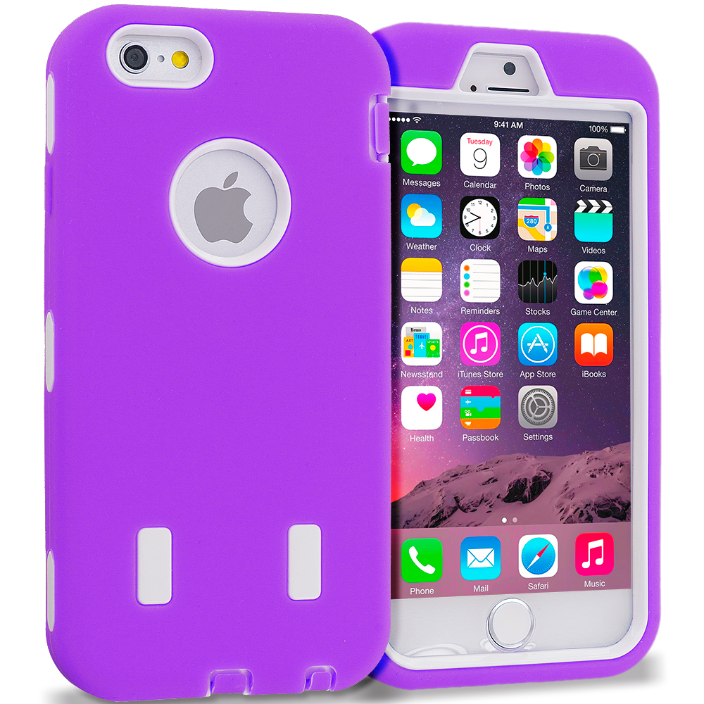 Apple iPhone 6 6S (4.7) Purple / White Hybrid Deluxe Hard/Soft Case Cover